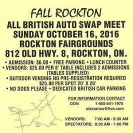 UPCOMING EVENT: Rockton All British Auto Swap Meet