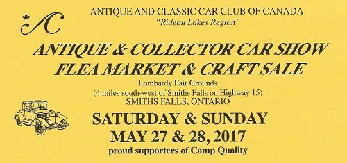 UPCOMING EVENT: Rideau Lakes Region Antique and Classic Car Flea Market & Car Show